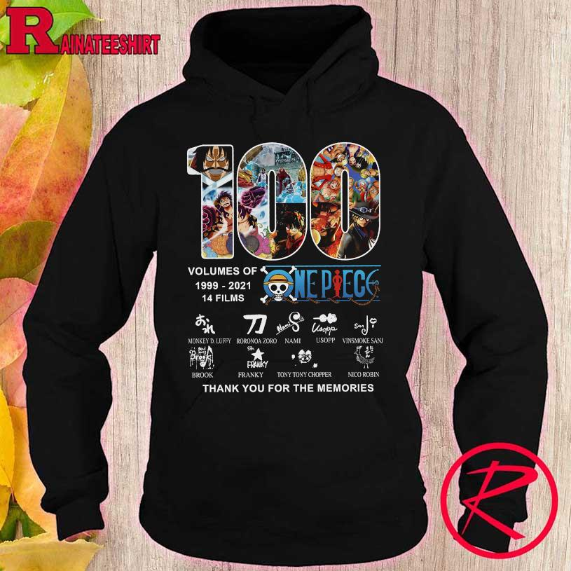 100 volumes of 1999 2021 14 films One Piece thank You for the memories hoodie