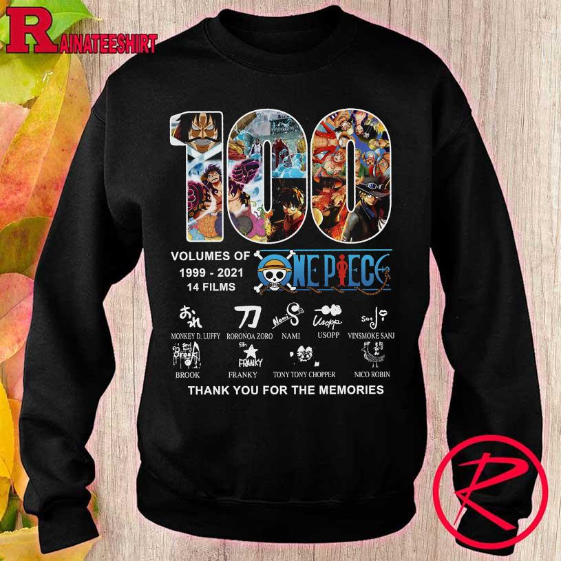 100 volumes of 1999 2021 14 films One Piece thank You for the memories sweater