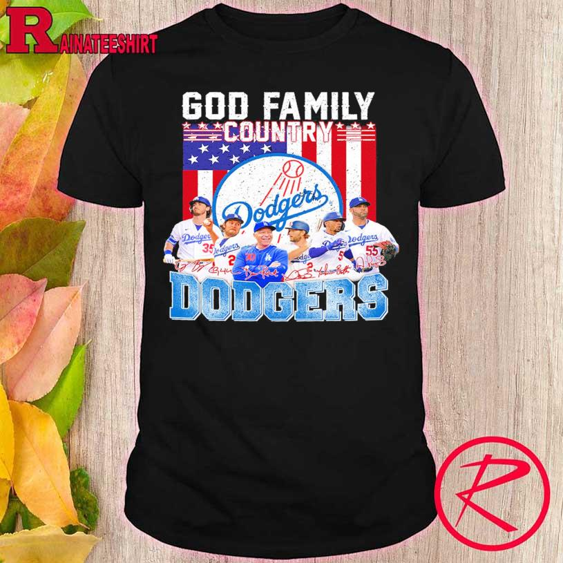 God Family country Los Angeles Dodgers American flag signatures shirt
