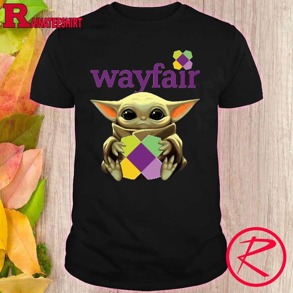 Baby Yoda face mask hug Wayfair shirt