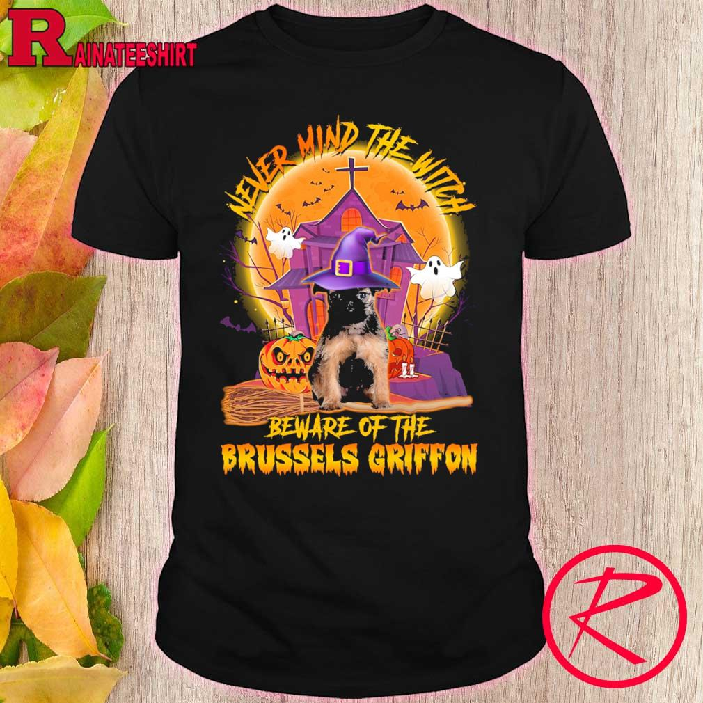 Never mind the witch beware of the Brussels Griffon Halloween Moon shirt