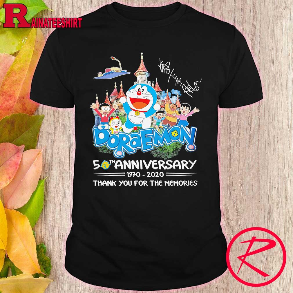 Doraemon 50th anniversary 1970 2020 thank You for the memories signatures shirt
